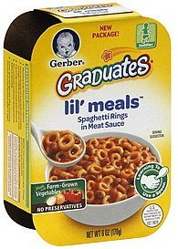 lil' meals spaghetti rings in meat sauce Gerber Nutrition info