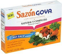 low sodium seasoning natural & complete Sazon Goya Nutrition info