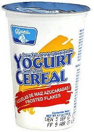 lowfat drink yogurt with cereal, frosted flakes Alpina Nutrition info