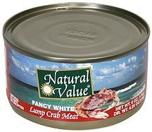 lump crab meat fancy white Natural Value Nutrition info