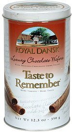 luxury chocolate wafers with delicious chocolate creme filling Royal Dansk Nutrition info