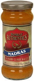 luxury curry sauce madras, hot Bombay Authentics Nutrition info