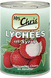 lychees in syrup Mrs. Chris Nutrition info