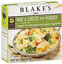 mac & cheese with veggies Blake's Nutrition info