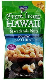 macadamia nuts unsalted natural Fresh from Hawaii Nutrition info