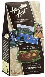 macadamias milk chocolate covered, premium Hawaiian Host Nutrition info