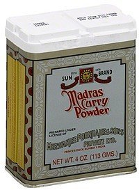 madras curry powder Sun Brand Nutrition info