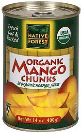 mango chunks mango chucks, organic, in organic mango juice Native Forest Nutrition info