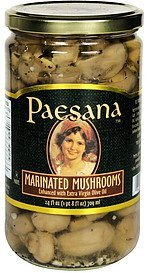 marinated mushrooms enhanced with extra virgin olive oil Paesana Nutrition info