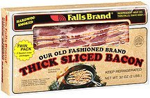 meat bacon thick sliced hardwood smoked twin pack Falls Brand Nutrition info