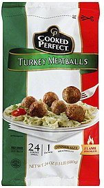 meatballs turkey, dinner size Cooked Perfect Nutrition info