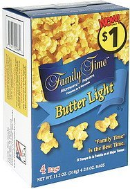 microwave popcorn butter light Family Time Nutrition info