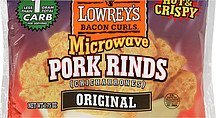 microwave pork rinds bacon curls original Lowreys Nutrition info