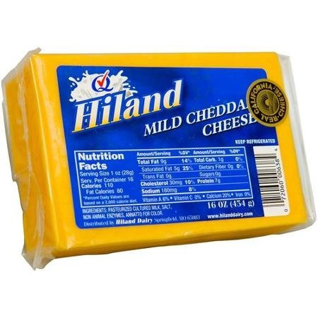 mild cheddar cheese Hiland Nutrition info