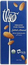 milk chocolate organic, salted almond Theo Nutrition info