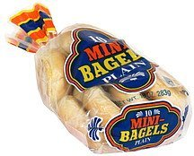 mini bagels plain Rocky Mtn. Bagel Factory Nutrition info