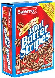 mini butter stripes cookies, fudge dipped Salerno Nutrition info