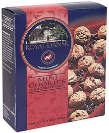 mini cookies chocolate chip Royal Dansk Nutrition info