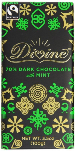mint dark chocolate bar Divine Nutrition info