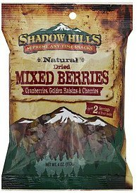 mixed berries dried Shadow Hills Nutrition info