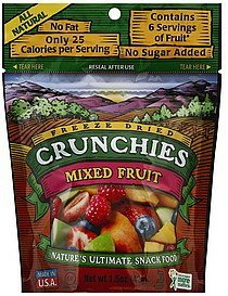 mixed fruit freeze dried Crunchies Nutrition info