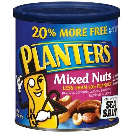 mixed nuts with sea salt Planters Nutrition info