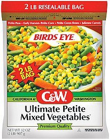 mixed vegetables ultimate petite C&W Nutrition info