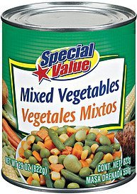 mixed vegetables Special Value Nutrition info