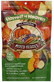 mixed veggies vacuum dehydrated Harvest of Heaven Nutrition info