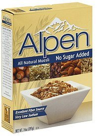 muesli all natural no sugar added Alpen Nutrition info