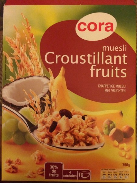 muesli croustillant fruits Cora Nutrition info