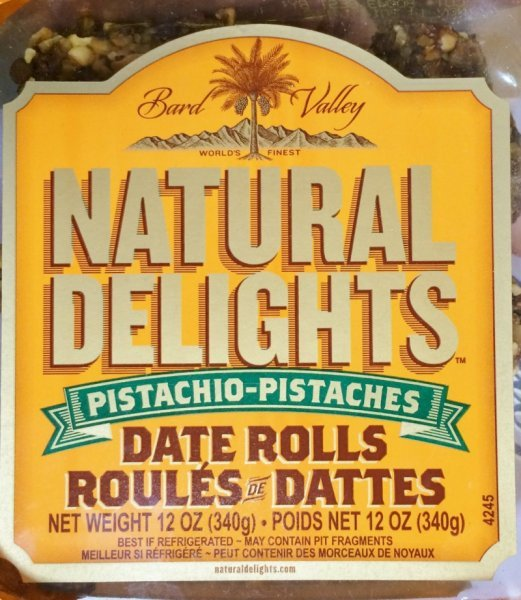 natural delights date rolls pistachio Bard Valley Nutrition info