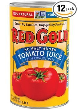 no salt added tomato juice Red Gold Nutrition info