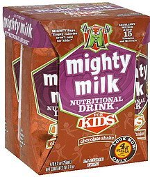 nutritional drink for kids, chocolate shake Mighty Milk Nutrition info