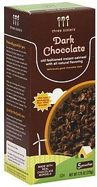 oatmeal instant, dark chocolate Three Sisters Nutrition info