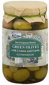 olives green, with lemon and garlic, fez preparation Les Comptoirs Reunis Nutrition info