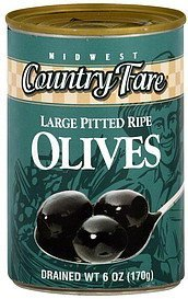 olives large pitted ripe Midwest Country Fare Nutrition info