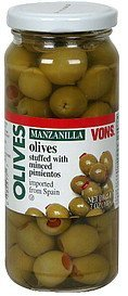 olives manzanilla, stuffed with minced pimientos Vons Nutrition info
