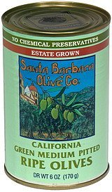 olives pitted california green medium Santa Barbara Olive Co. Nutrition info