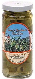 olives, pitted garlic Santa Barbara Olive Co. Nutrition info