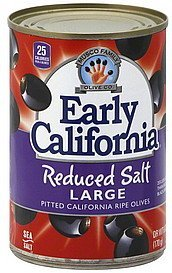 olives ripe, pitted california, reduced salt, large Early California Nutrition info