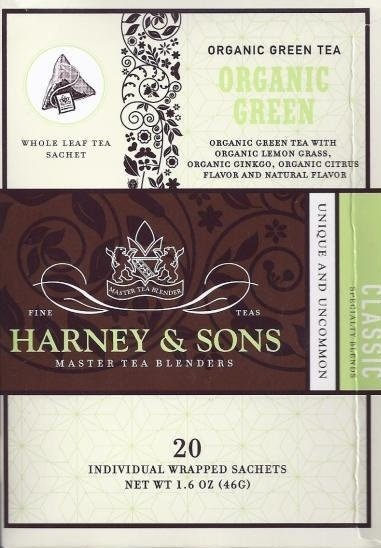 organic green tea Harney & Sons Nutrition info