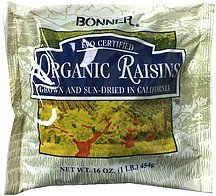 organic raisins sun-dried Bonner Nutrition info