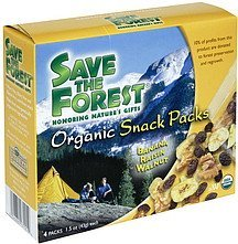 organic snack packs banana raisin walnut Save the Forest Nutrition info