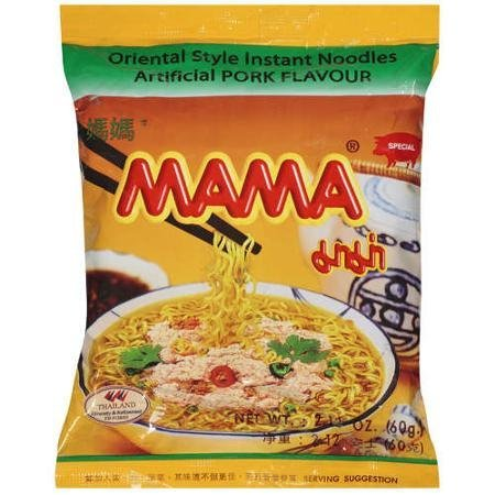 oriental style instant noodles with artificial pork flavor Mama Nutrition info