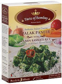 palak paneer with cumin basmati rice Taste Of Bombay Nutrition info