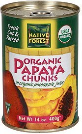 papaya chunks organic, in organic pineapple juice Native Forest Nutrition info