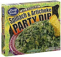 party dip spinach & artichoke Health is Wealth Nutrition info