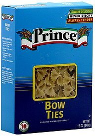 pasta bow ties Prince Nutrition info
