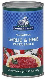 pasta sauce garlic & herb Midwest Country Fare Nutrition info